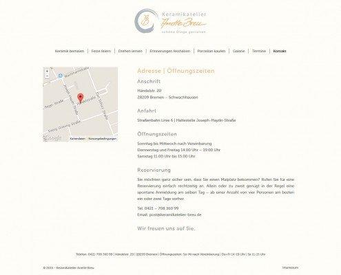 Kontaktseite des Keramikateliers Anette Breu